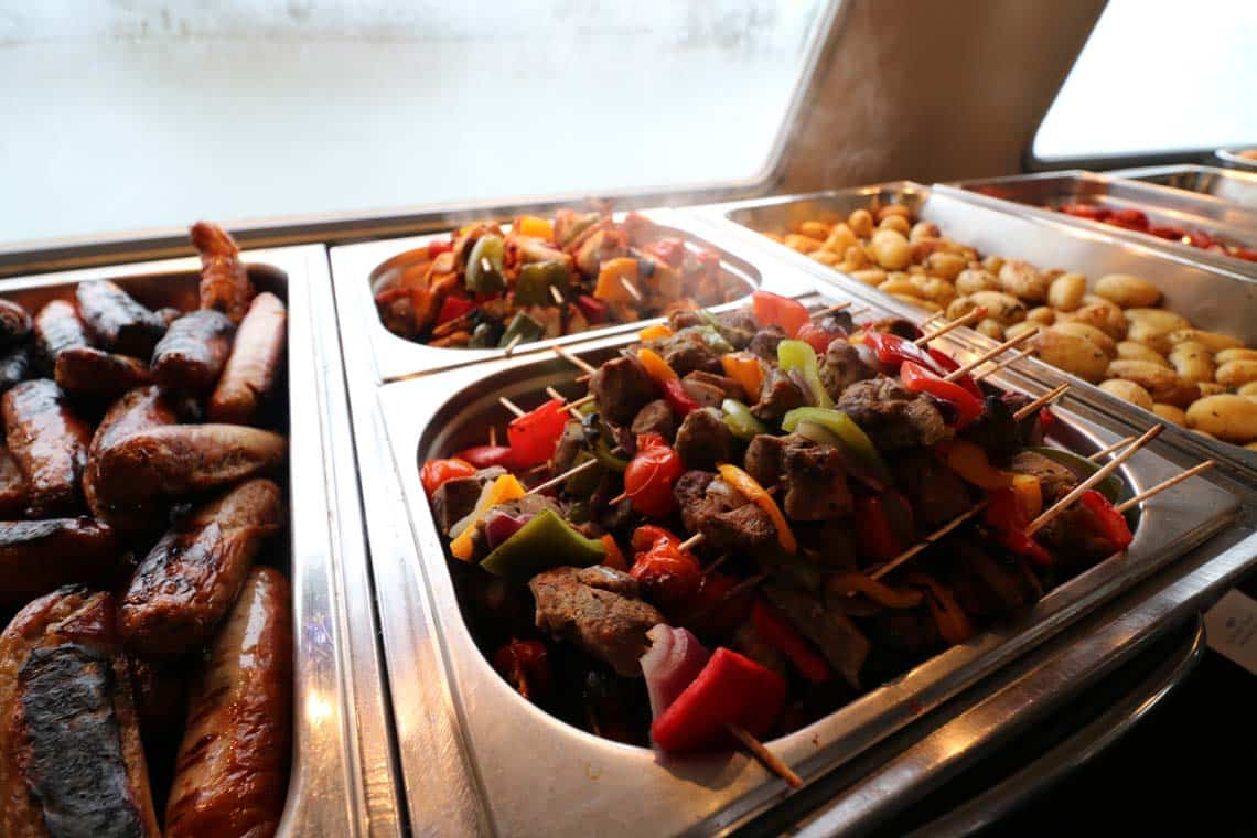 Grilled Cumberland Sausages, Welsh Lamb Kofta Kebabs & Grilled Suffolk Chicken Kebabs