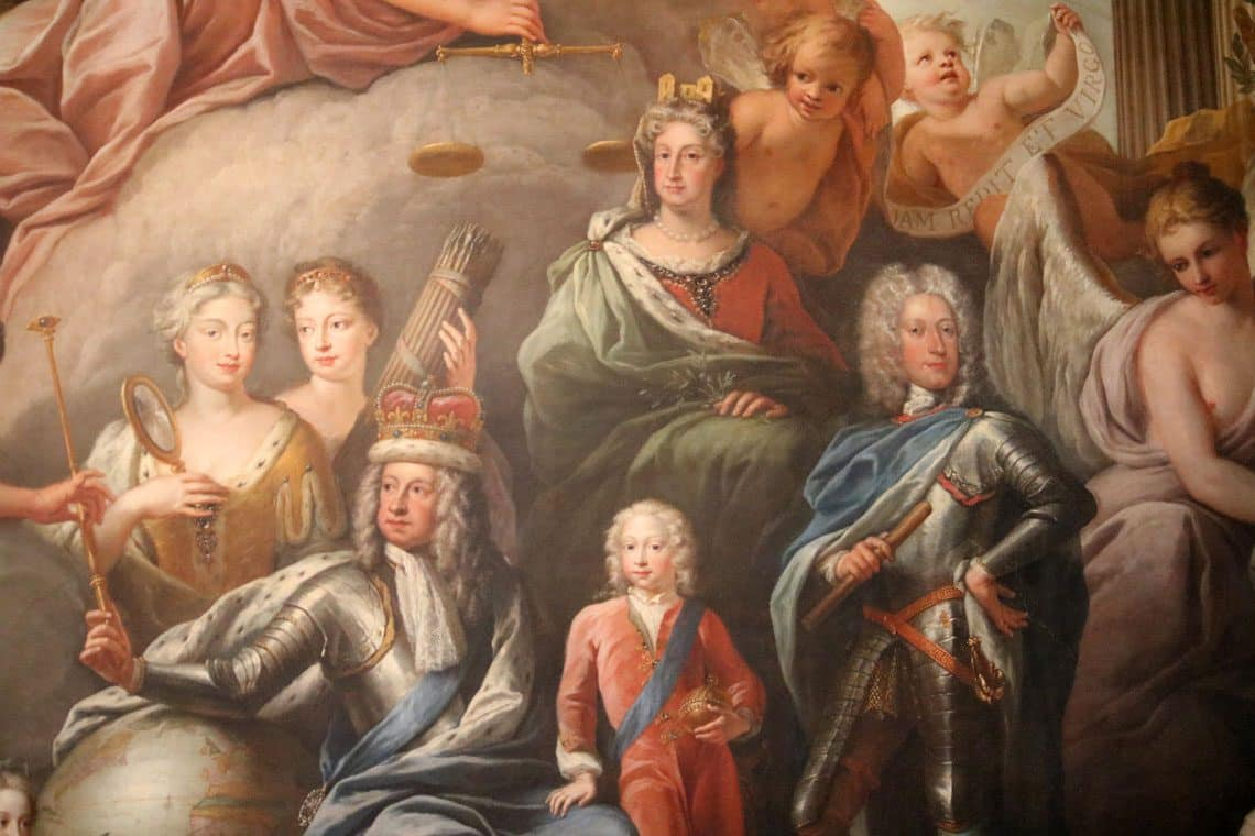 Old Royal Naval College, The Painted Hall The West Wall - George I, His Family and His Virtues