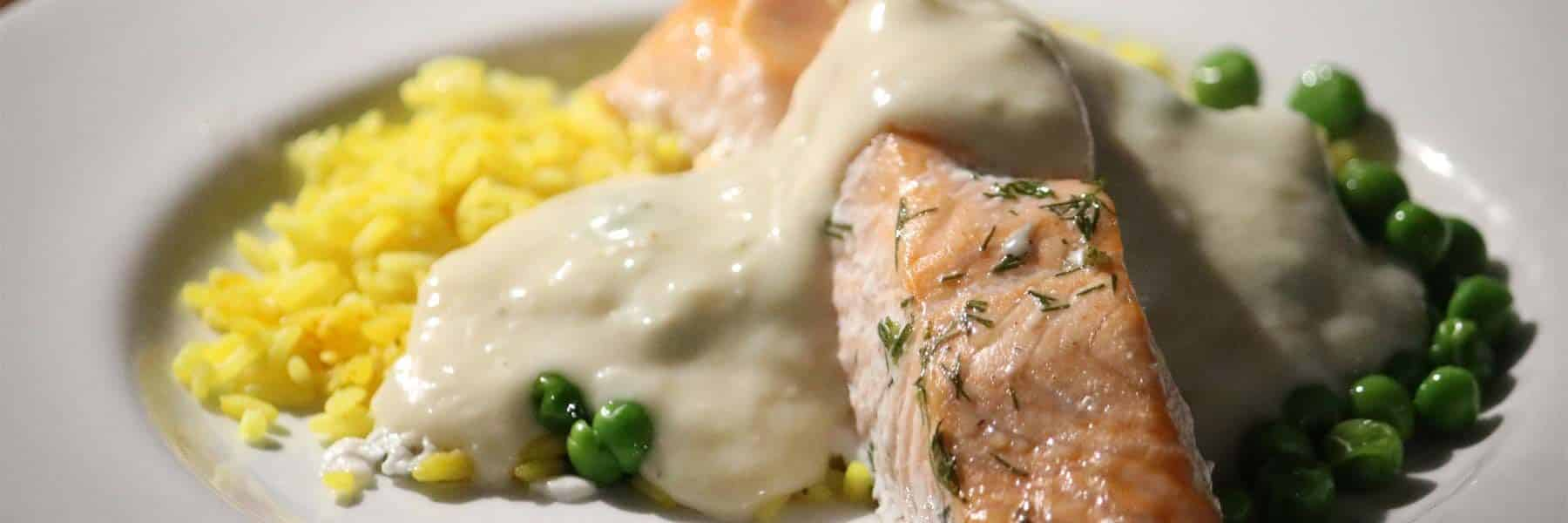 Seared Fillet of Salmon with Peas, Saffron Rice & Dill Velouté