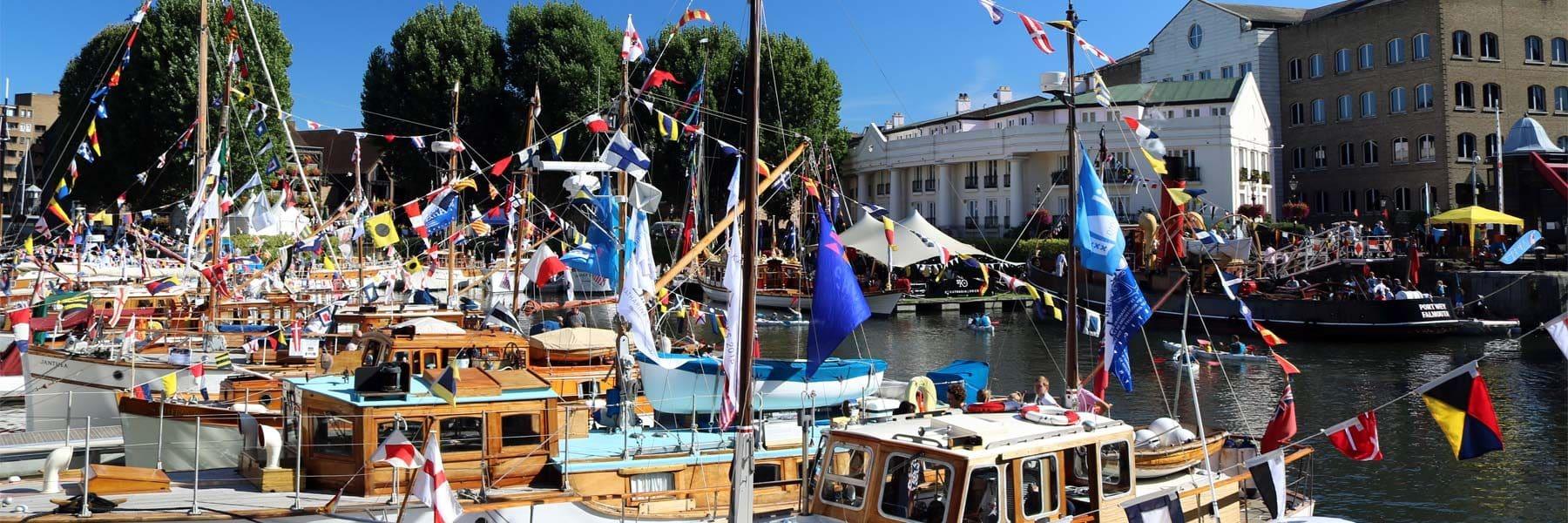 St. Katharine Docks during the Classic Boat Festival