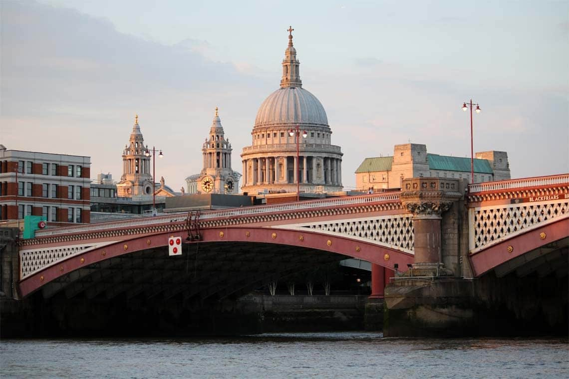 Thames Sunday Evening Cruise, Blackfriars Bridge & St. Paul's Cathedral