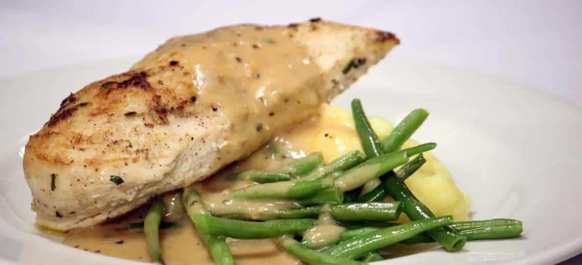 Suffolk Chicken Breast, Basil Mash, Fine Beans & Tarragon Sauce