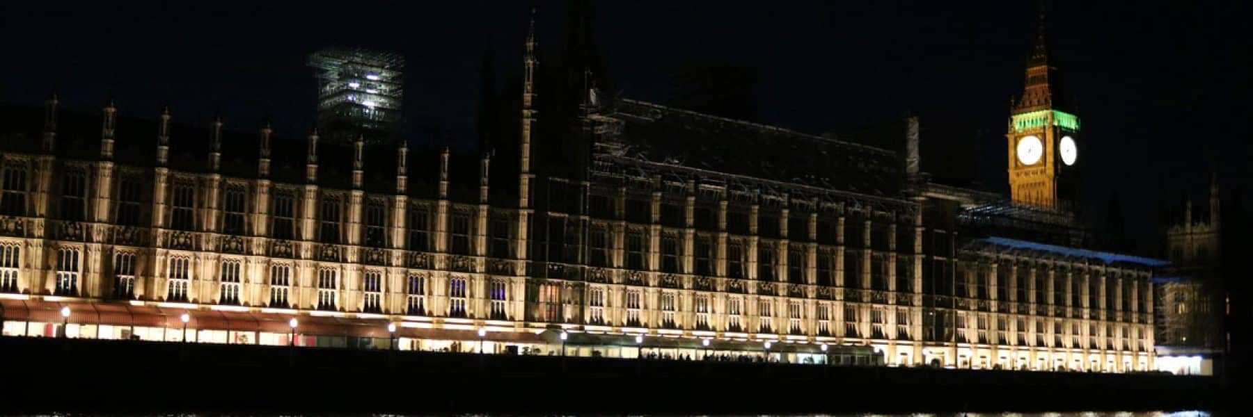 The New Palace of Westminster (Houses of Parliament) at night