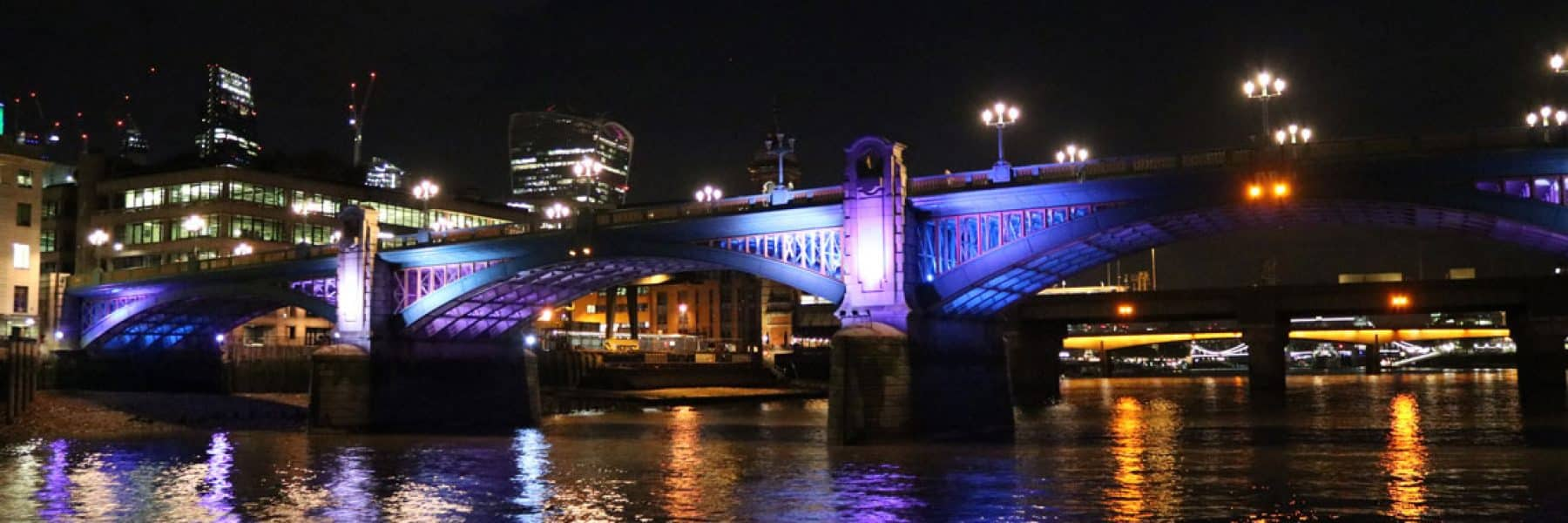 Southwark Road Bridge at night