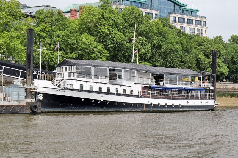 The Yacht at Temple Pier (St. Katharine), Victoria Embankment, City of Westminster
