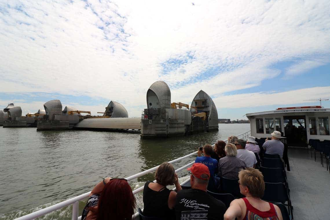 M.V London Rose approaching the Thames Barrier