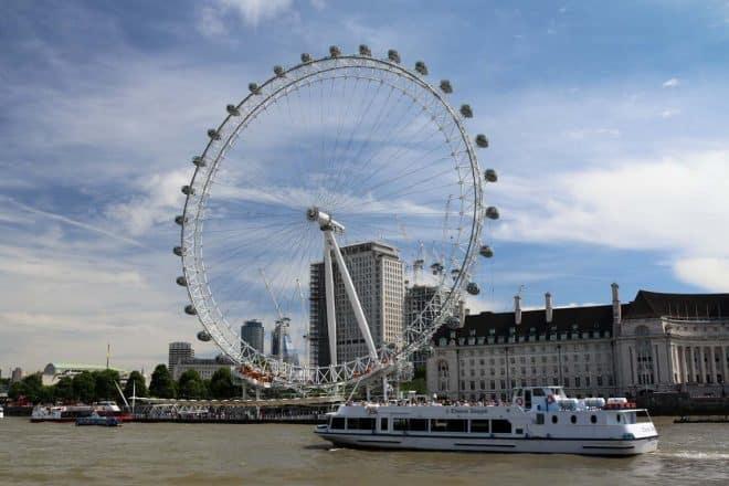 M.V Thomas Doggett passing the London Eye