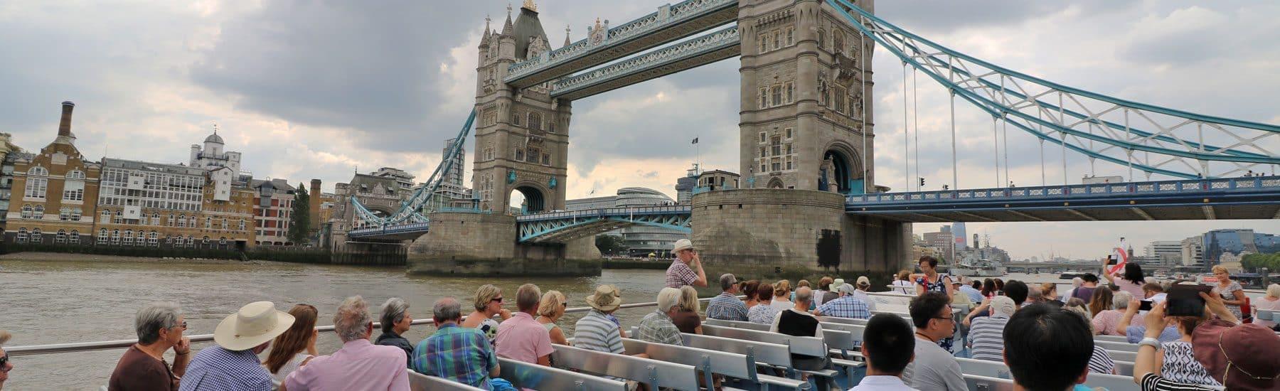 M.V Thomas Doggett passing Tower Bridge, London