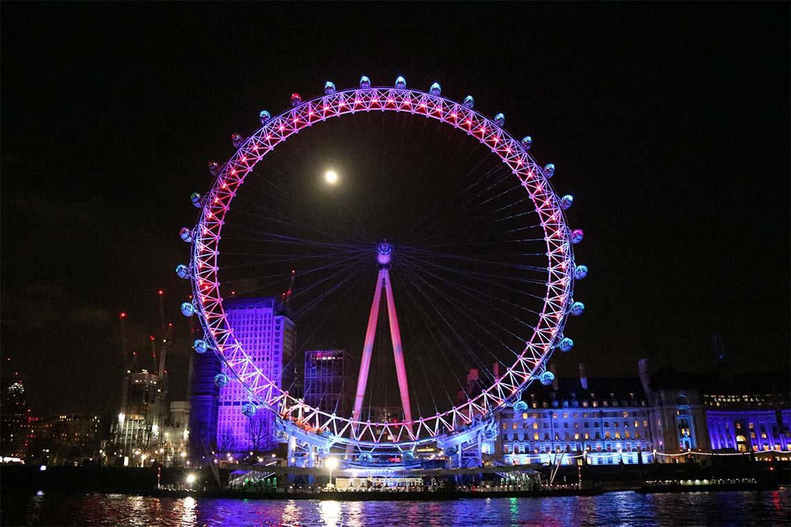 The London Eye on New Year's Eve, Waterloo