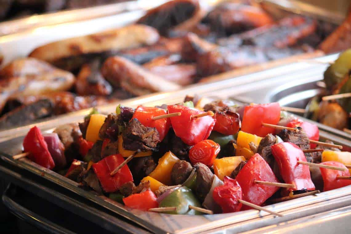 Grilled Cumberland Sausages & Welsh Lamb Kebabs
