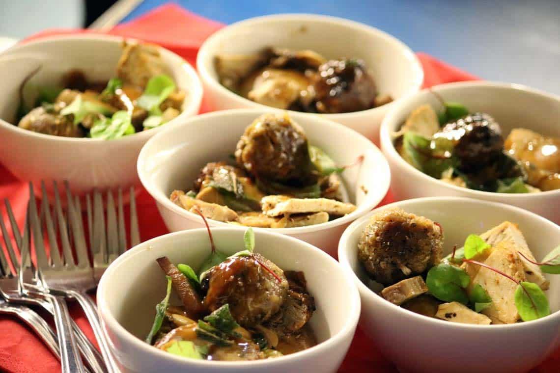 Roast Turkey, Pork Stuffing, Roast Potatoes and Onion Gravy