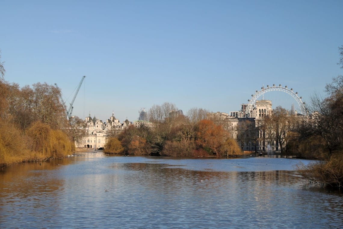 The view from the Blue Bridge, St James Park, City of Westminster