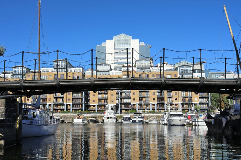 Telford Bridge & the East Dock, St. Katharine Dock, London Borough of Tower Hamlets