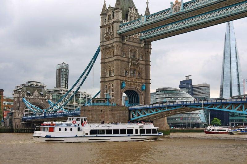 M.V Thomas Doggett approaching Tower Bridge